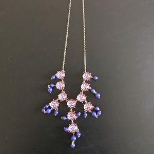 Orange and Blue Chevron Drop Necklace